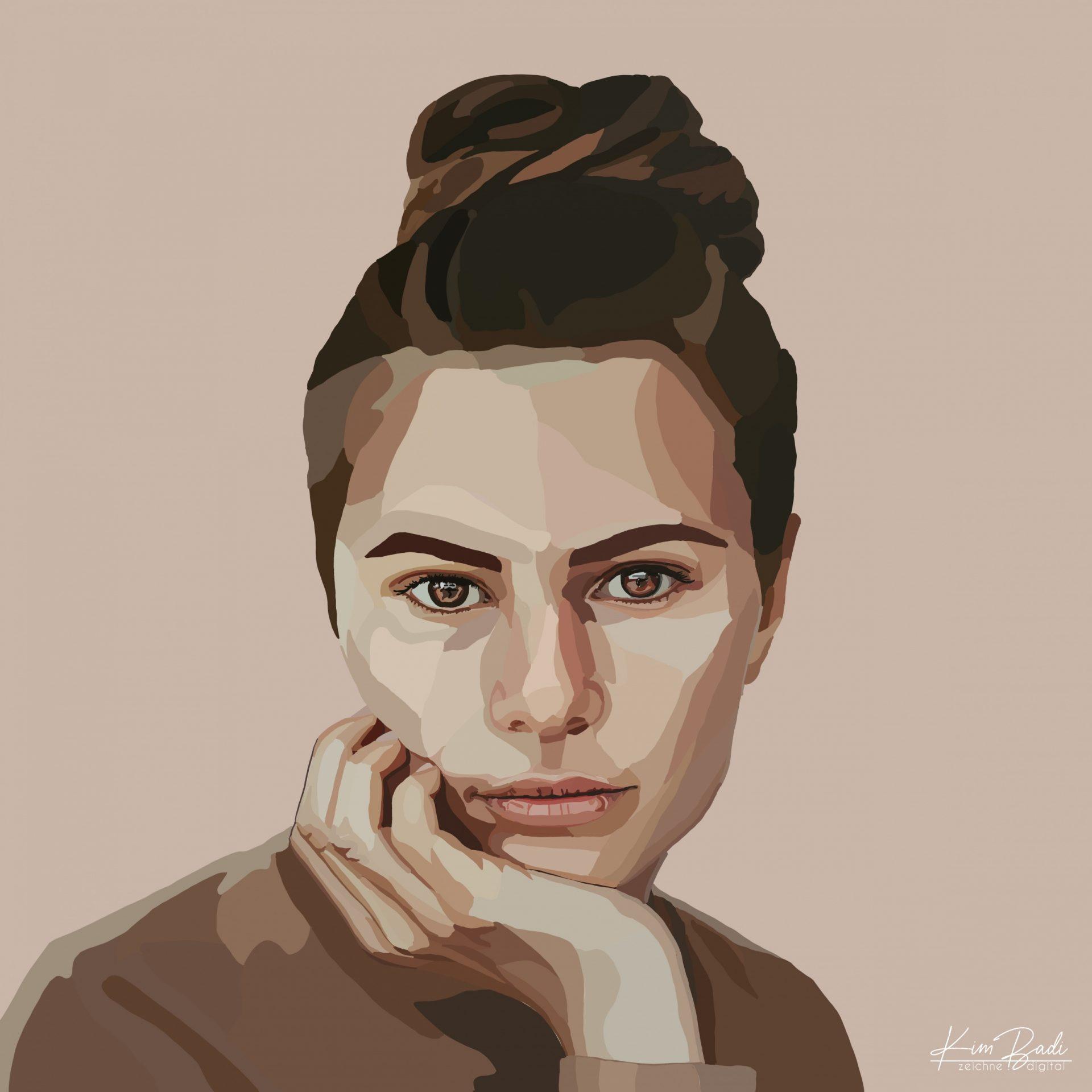 Kim Badi - digitale Kunst - Frau Portrait auf der Webseite www.kimbadi.com