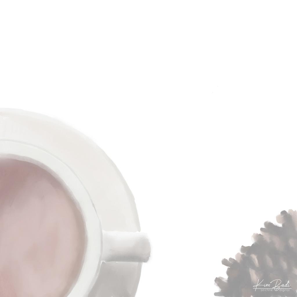 Kim Badi - digitale Kunst - Tee und Tannenzapfen auf der Webseite www.kimbadi.com
