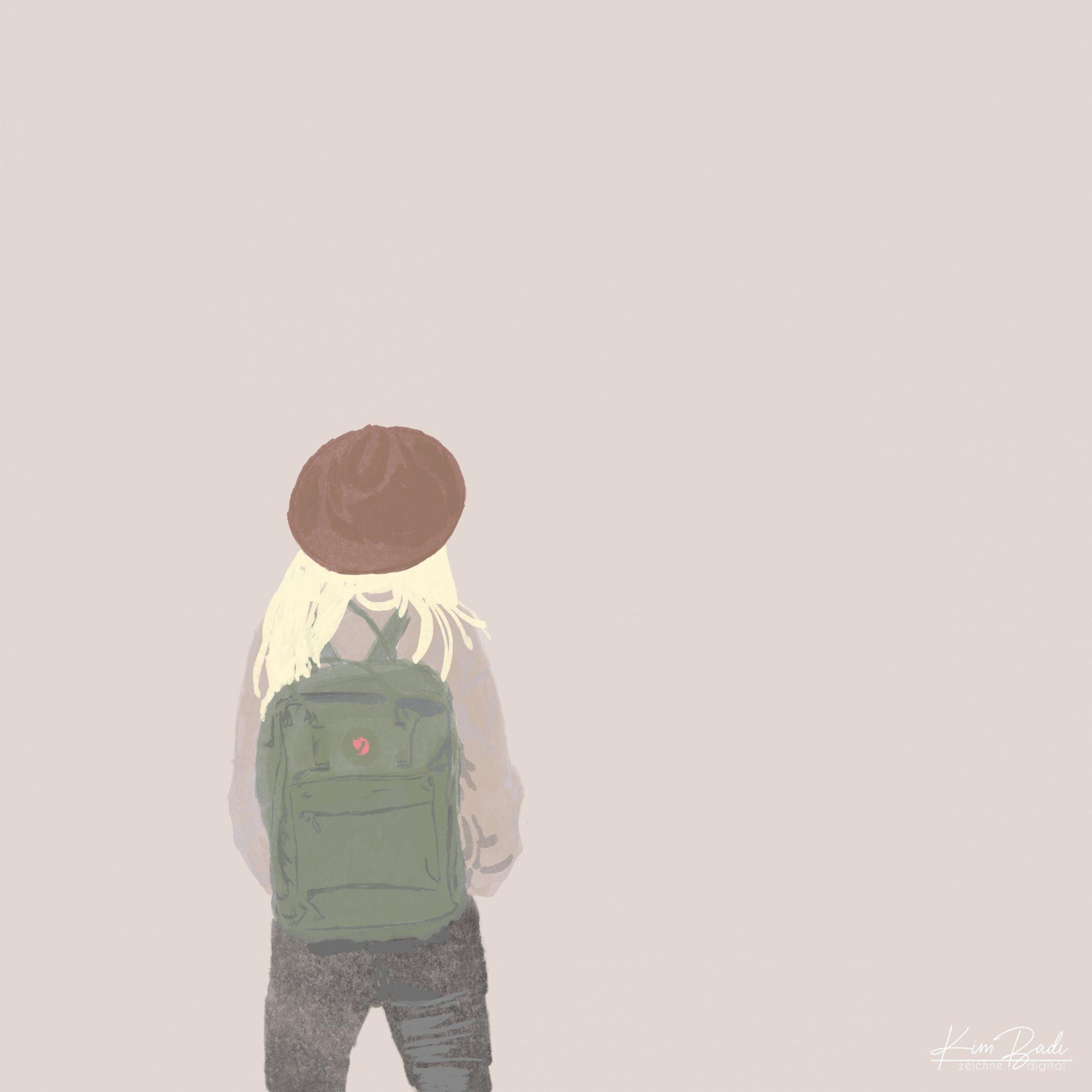Kim Badi - digitale Kunst - Wanderlust Frau auf der Webseite www.kimbadi.com