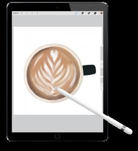 Kim Badi - Mockup iPad mit Kaffeetasse auf der Webseite www.kimbadi.com