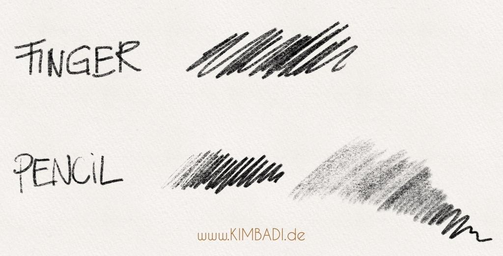 Apple Pencil in der Procreate App ist drucksensitiv im Gegensatz zum Finger - Auf der Webseite www.KIMBADI.com